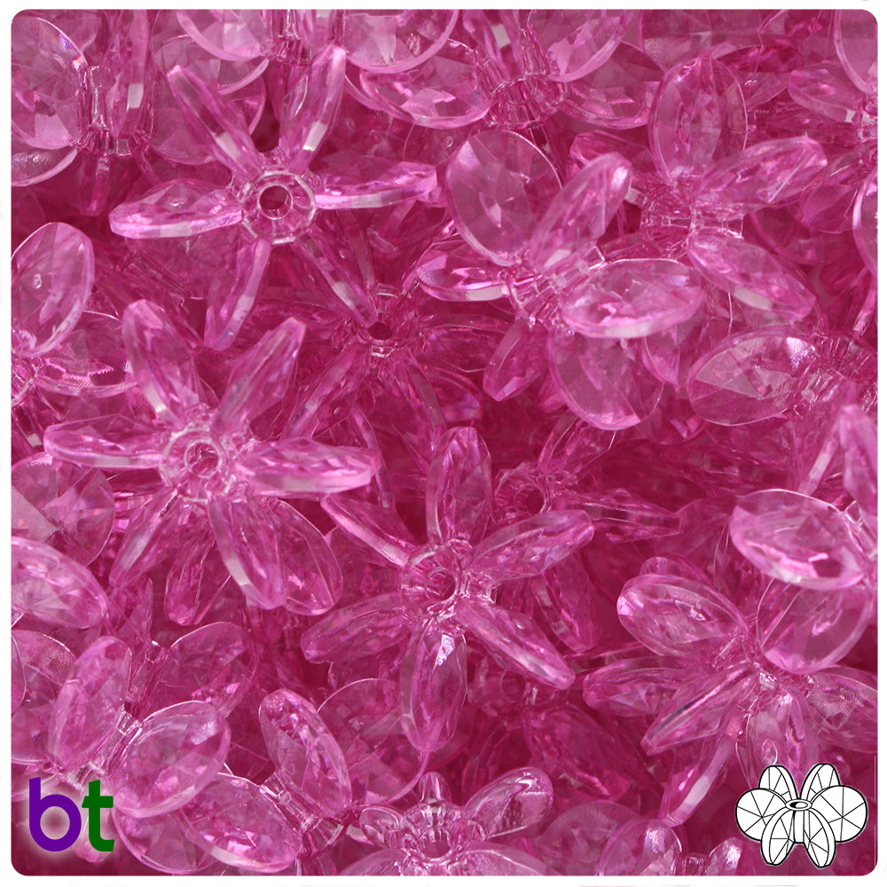 Light Fuchsia Transparent 25mm SunBurst Craft Beads (69pcs)