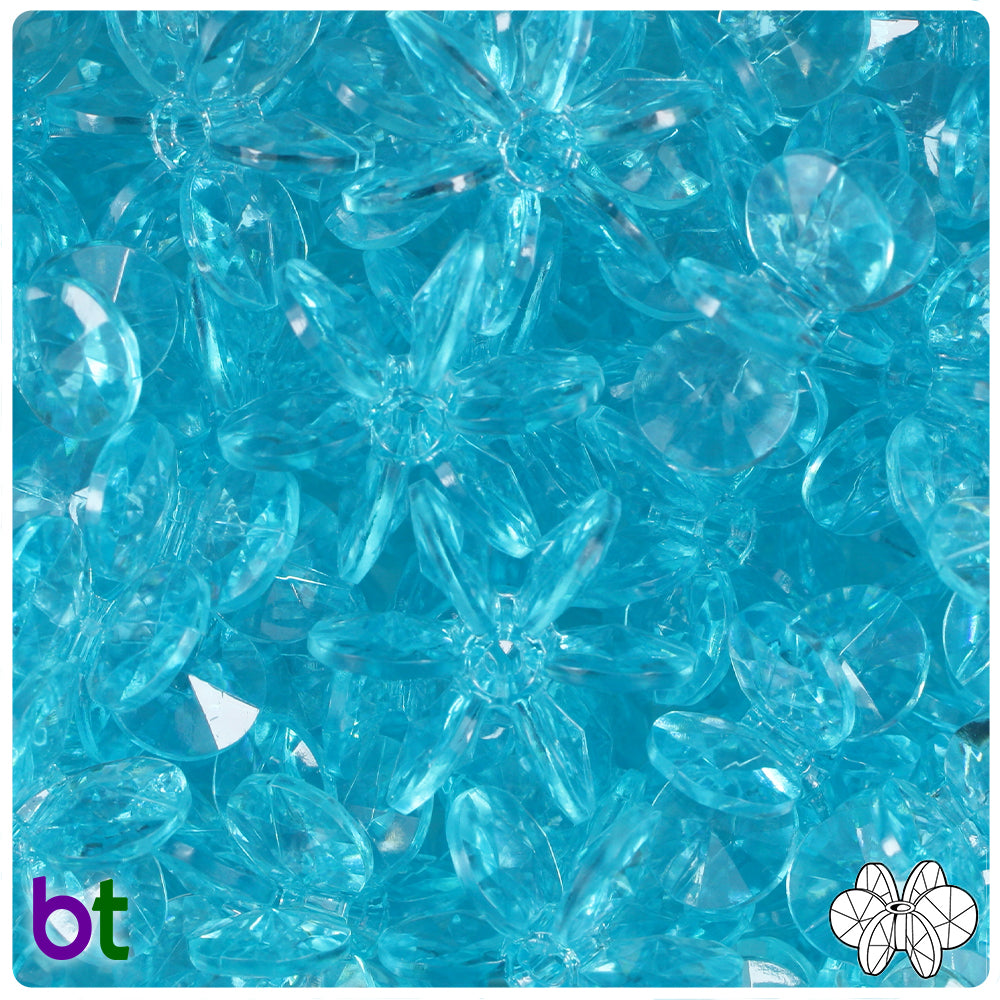 Light Turquoise Transparent 25mm SunBurst Craft Beads (69pcs)