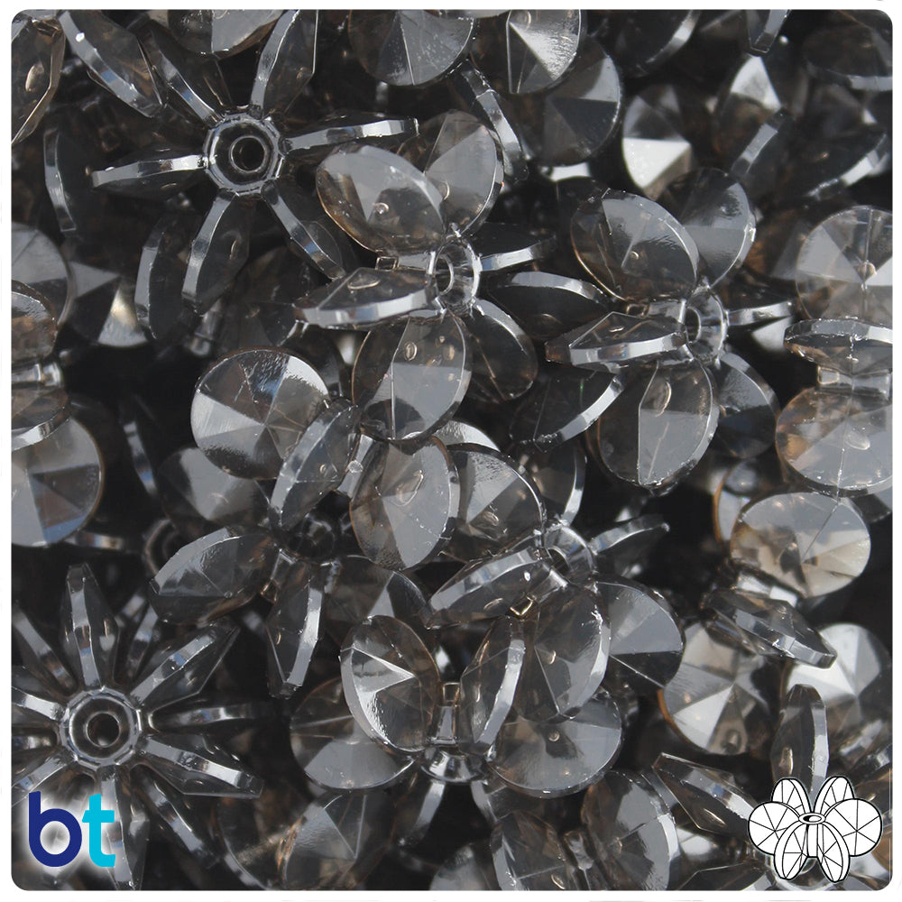 Jet Transparent 25mm SunBurst Craft Beads (69pcs)
