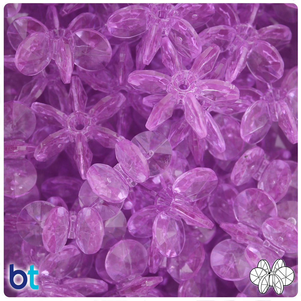 Light Amethyst Transparent 25mm SunBurst Craft Beads (69pcs)