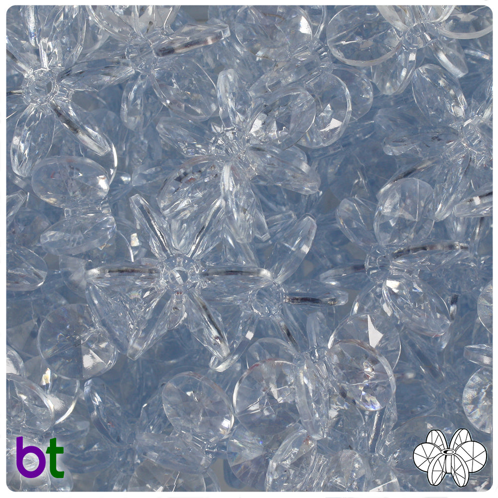 Ice Blue Transparent 25mm SunBurst Craft Beads (69pcs)