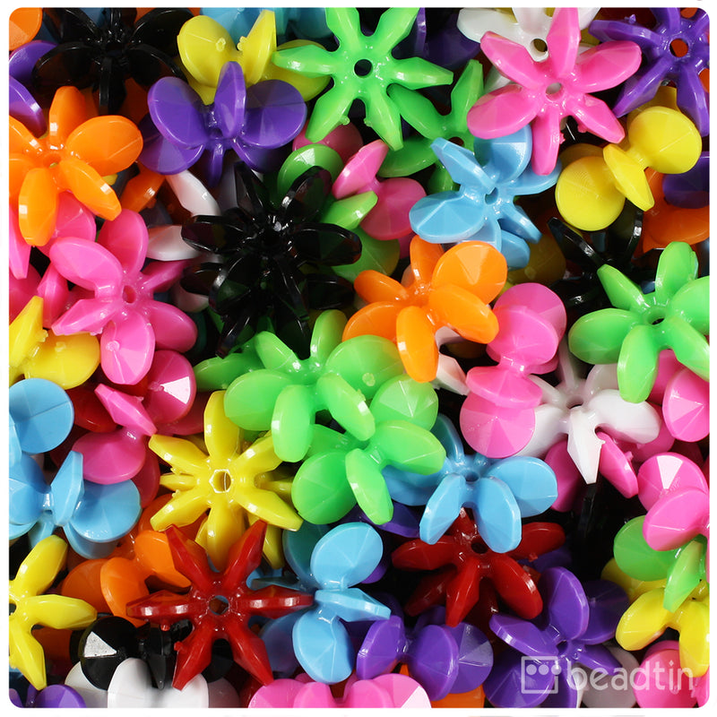 Opaque Multi 18mm SunBurst Craft Beads (150pcs)