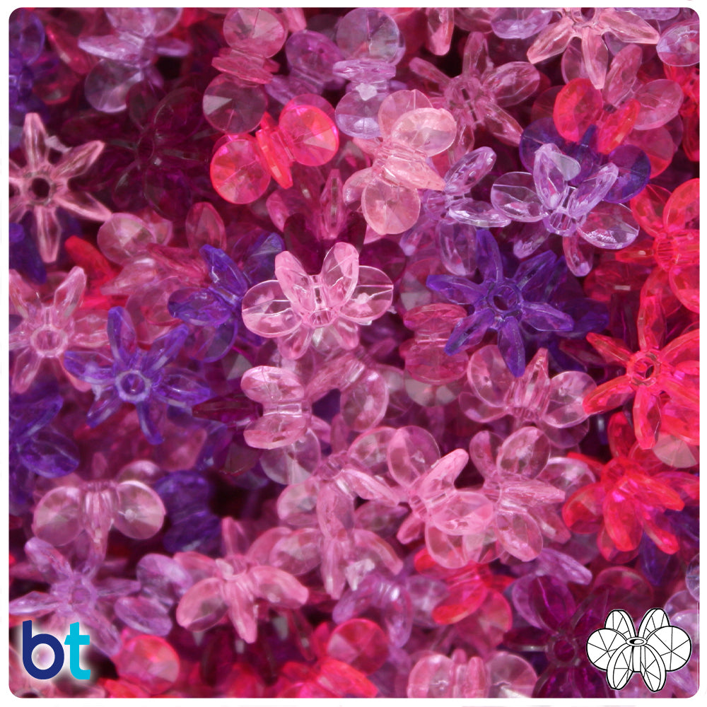 Pink & Purple Transparent Mix 12mm SunBurst Craft Beads (400pcs)