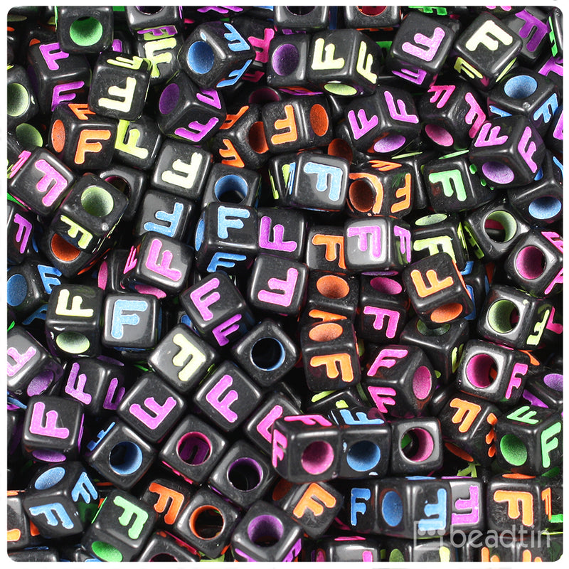 Black Opaque 7mm Cube Alpha Beads - Coloured Letter F (75pcs)