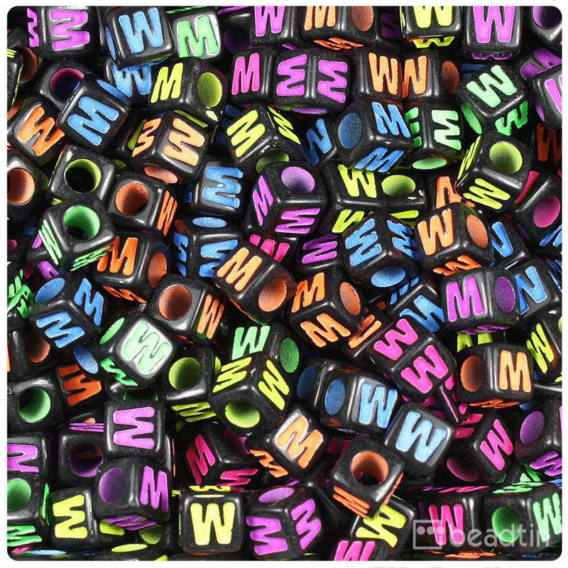 Black Opaque 7mm Cube Alpha Beads - Coloured Letter W (75pcs)
