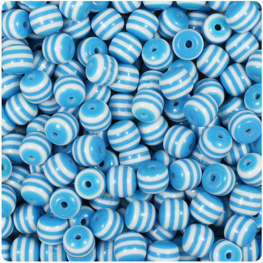 Light Blue & White Striped 8mm Round Resin Beads (120pcs)
