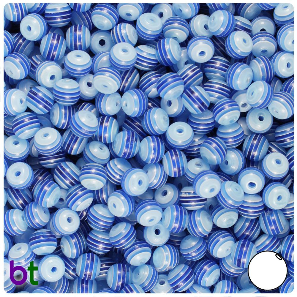 Dark Blue & Clear Striped 6mm Round Resin Beads (150pcs)