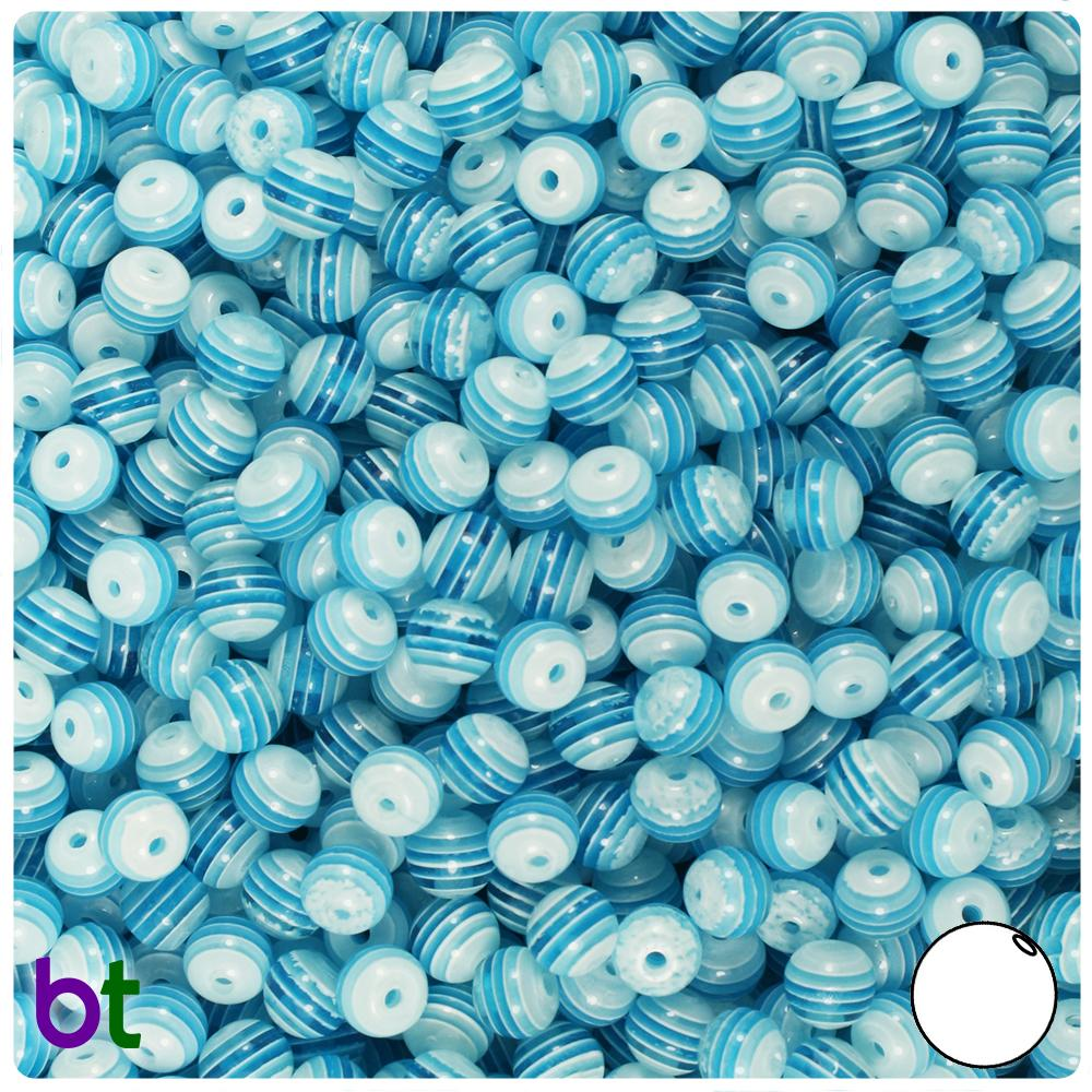 Turquoise & White Striped 6mm Round Resin Beads (150pcs)