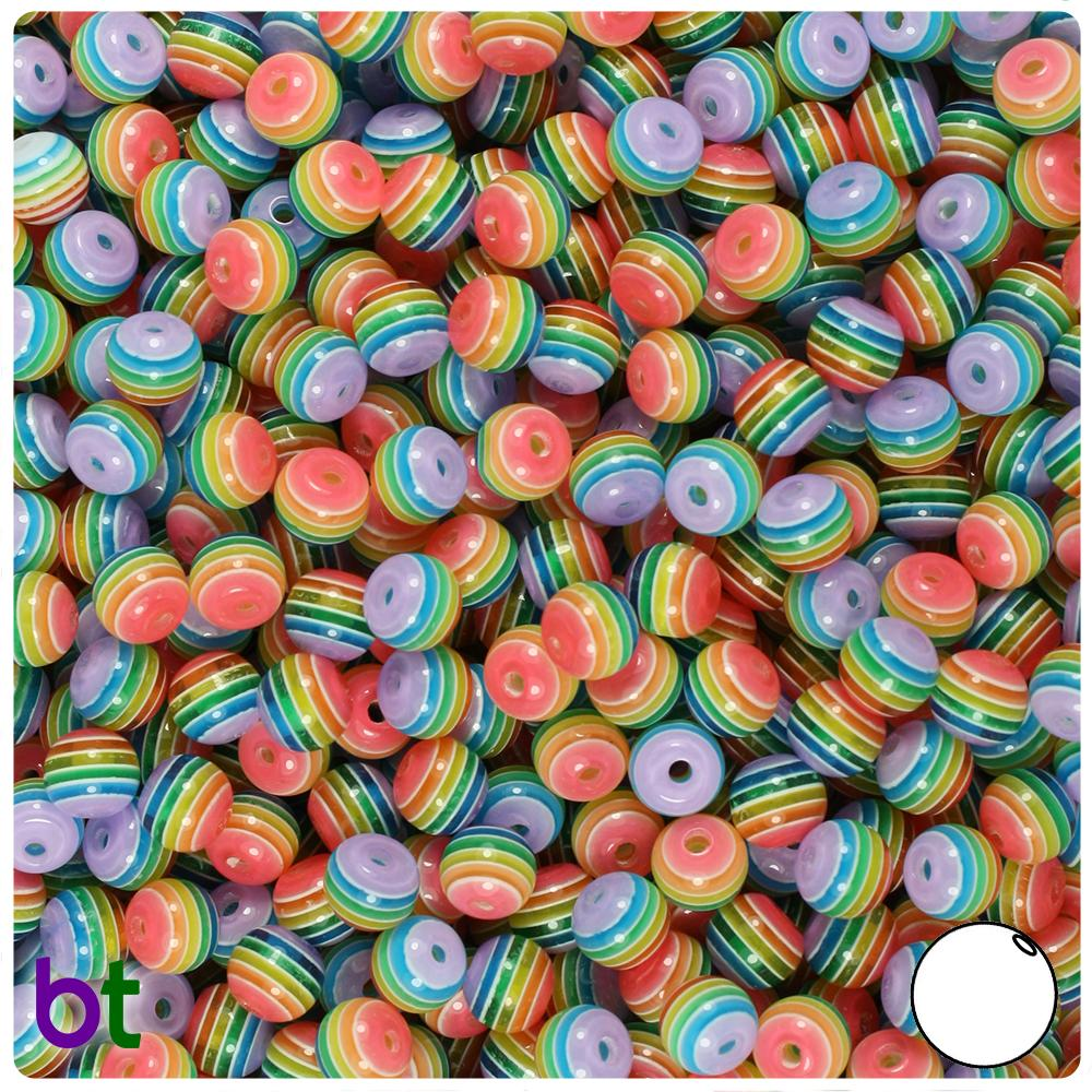 Rainbow & Clear Striped 6mm Round Resin Beads (150pcs)