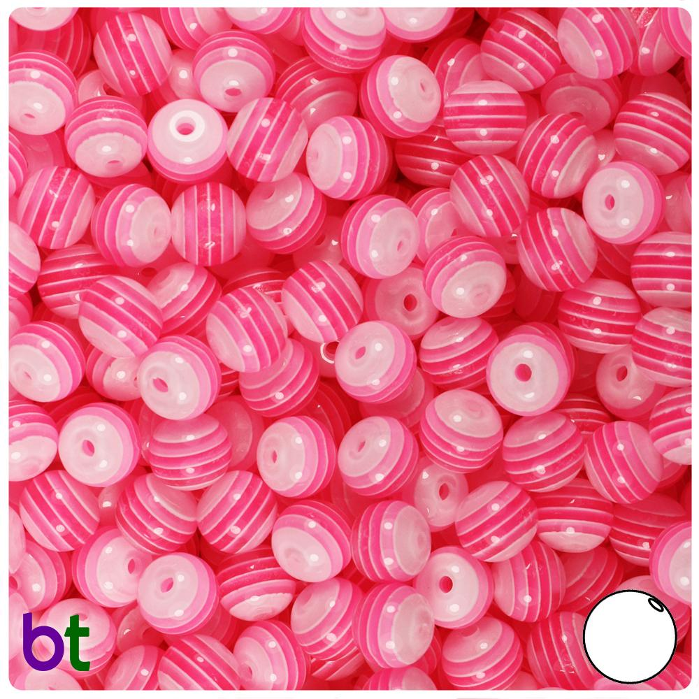 Pink & White Striped 8mm Round Resin Beads (120pcs)
