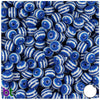 Blue & White Striped 8mm Round Resin Beads (120pcs)