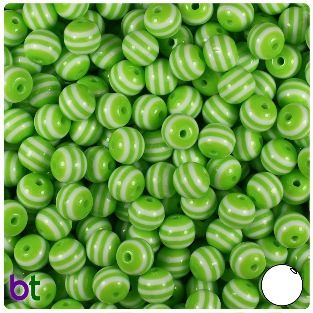 Light Green & White Striped 8mm Round Resin Beads (120pcs)