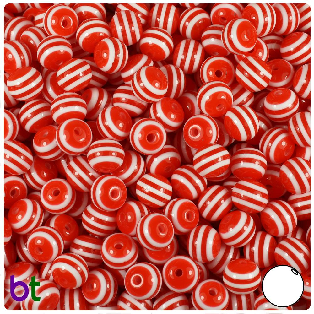 Red & White Striped 8mm Round Resin Beads (120pcs)