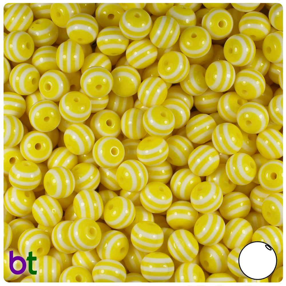 Yellow & White Striped 8mm Round Resin Beads (120pcs)