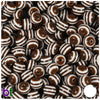 Brown & White Striped 8mm Round Resin Beads (120pcs)
