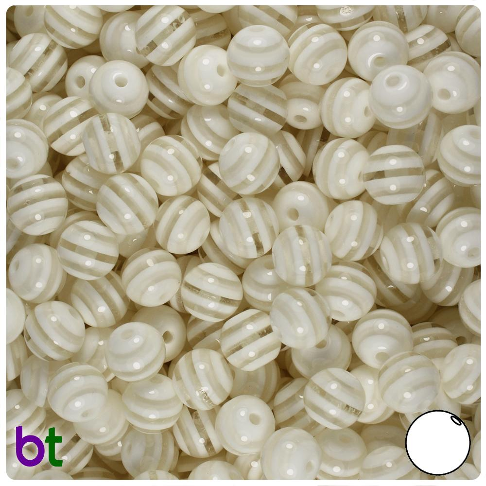 Clear & White Striped 8mm Round Resin Beads (120pcs)