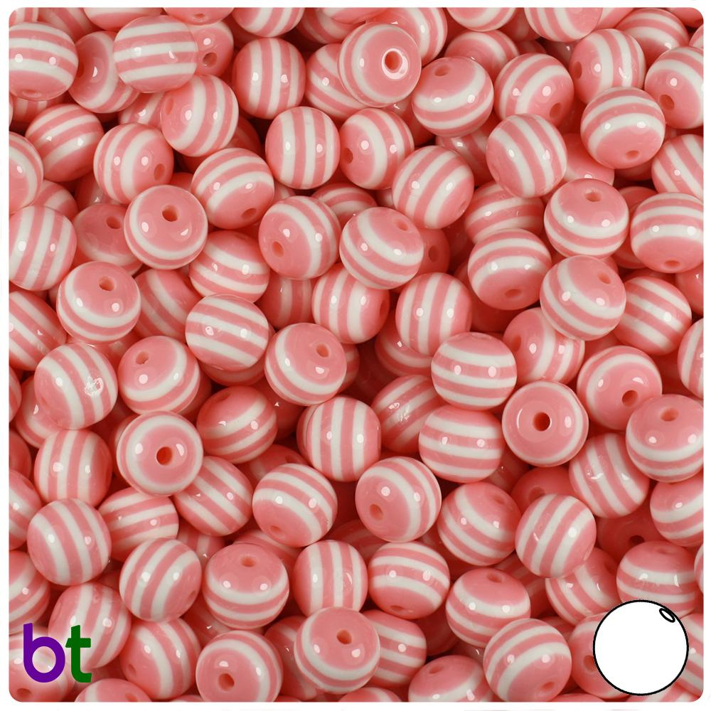 Light Pink & White Striped 8mm Round Resin Beads (120pcs)
