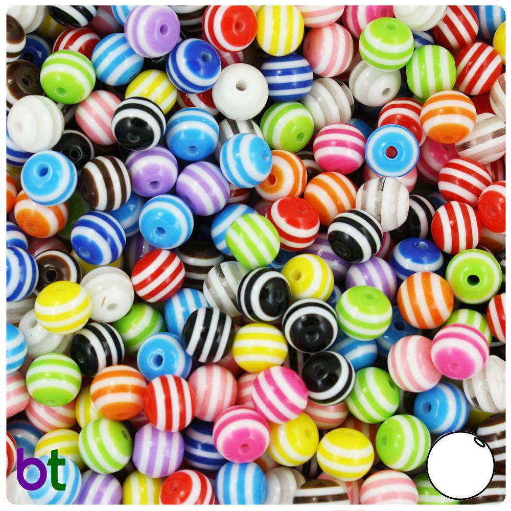 Mixed Colors Striped 8mm Round Resin Beads (120pcs)