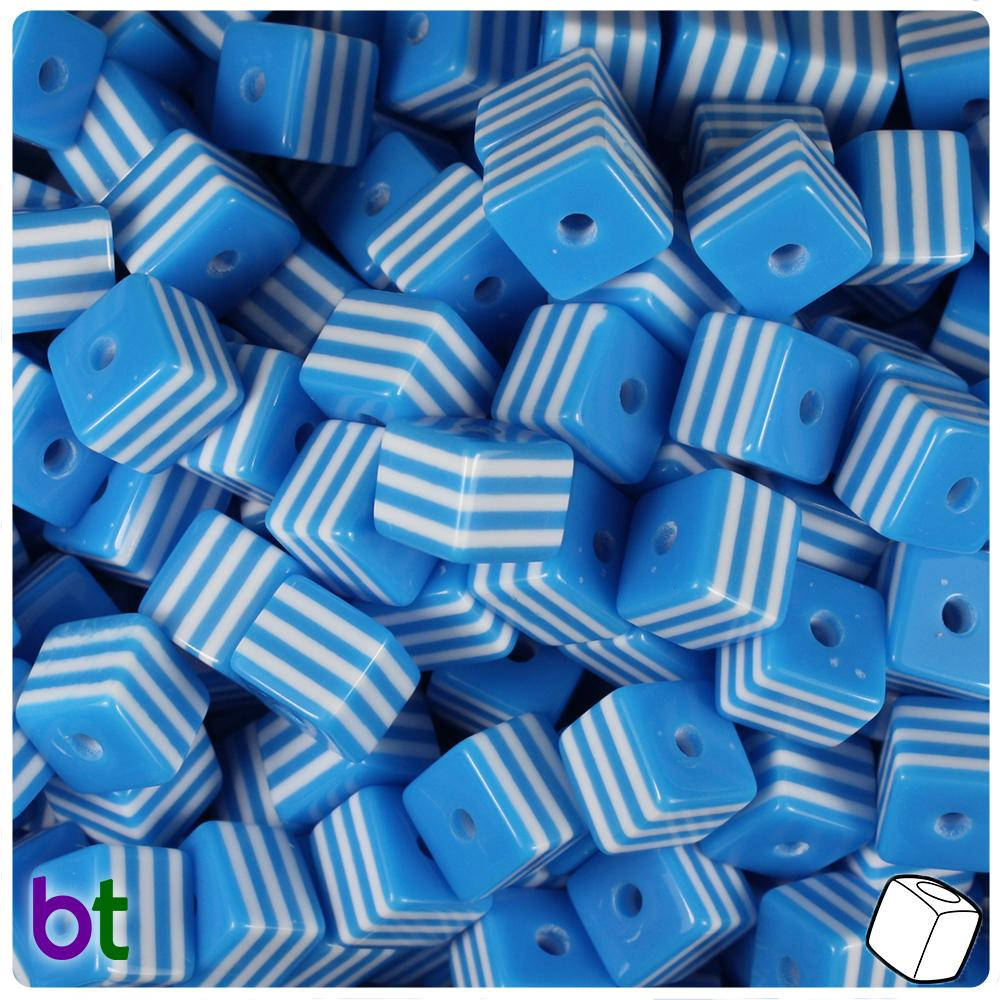 Blue & White Striped 8mm Cube Resin Beads (100pcs)