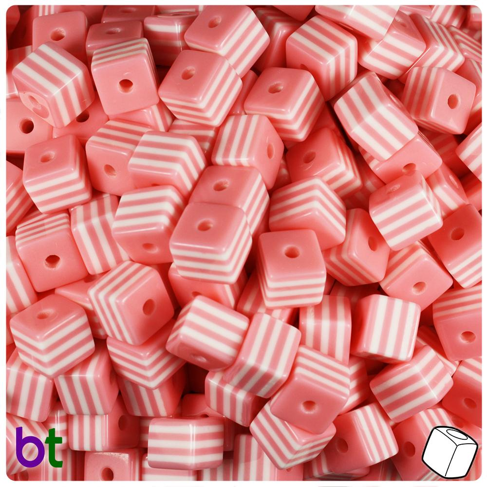 Light Pink & White Striped 8mm Cube Resin Beads (100pcs)