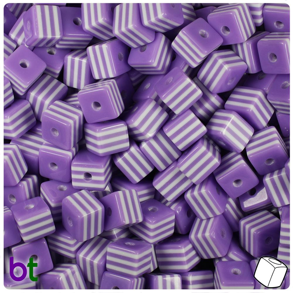 Purple & White Striped 8mm Cube Resin Beads (100pcs)