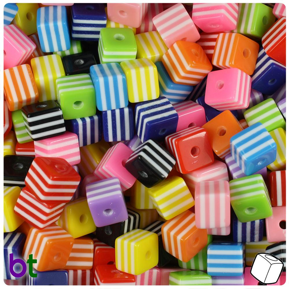 Mixed Colors & White Striped 8mm Cube Resin Beads (100pcs)