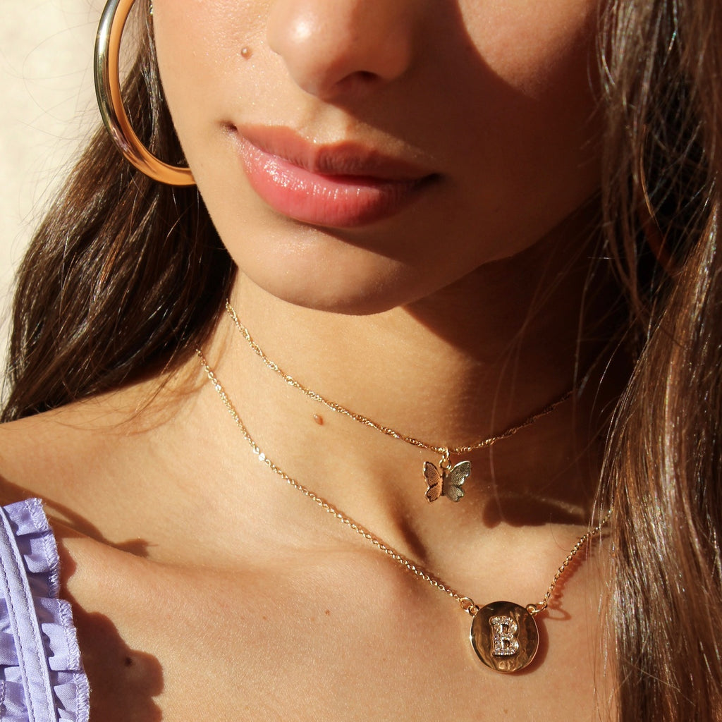 Custom Initial Coin Necklace in Clear