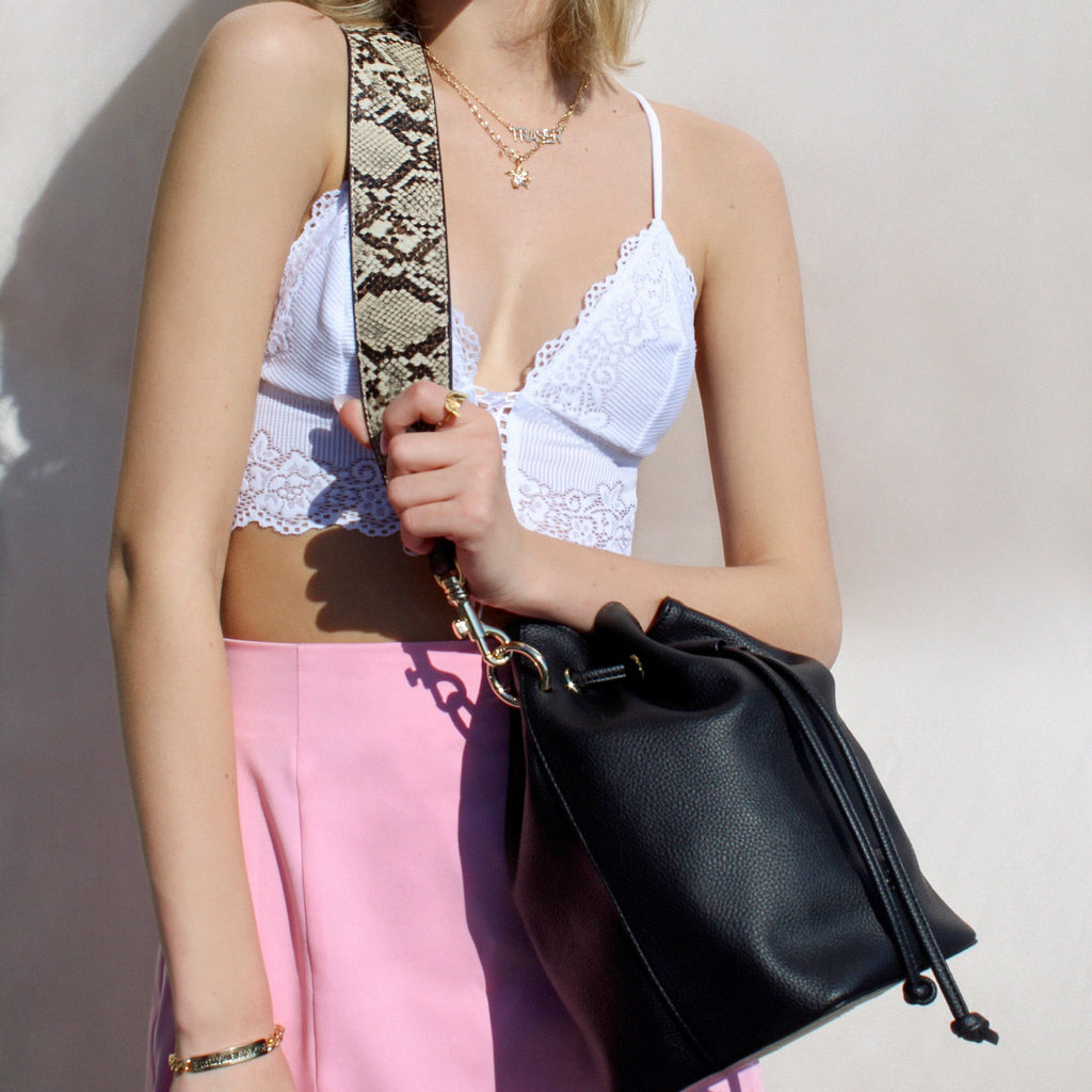 Daydreamer Bucket Bag with Snakeskin Strap