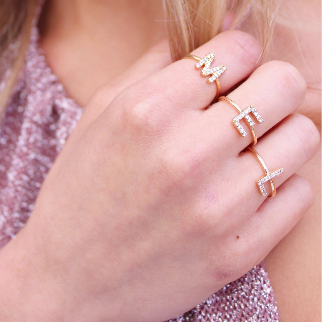Initially Obsessed Ring in Gold