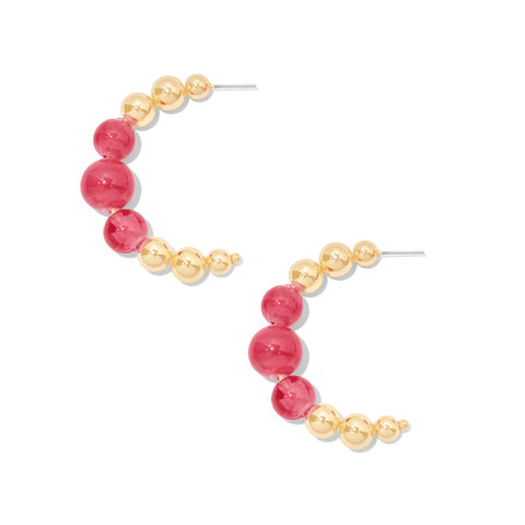 Mimosa Hoops in Pink