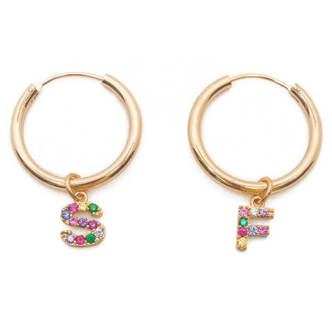 Rainbow Custom Star Crossed Lovers Hoops