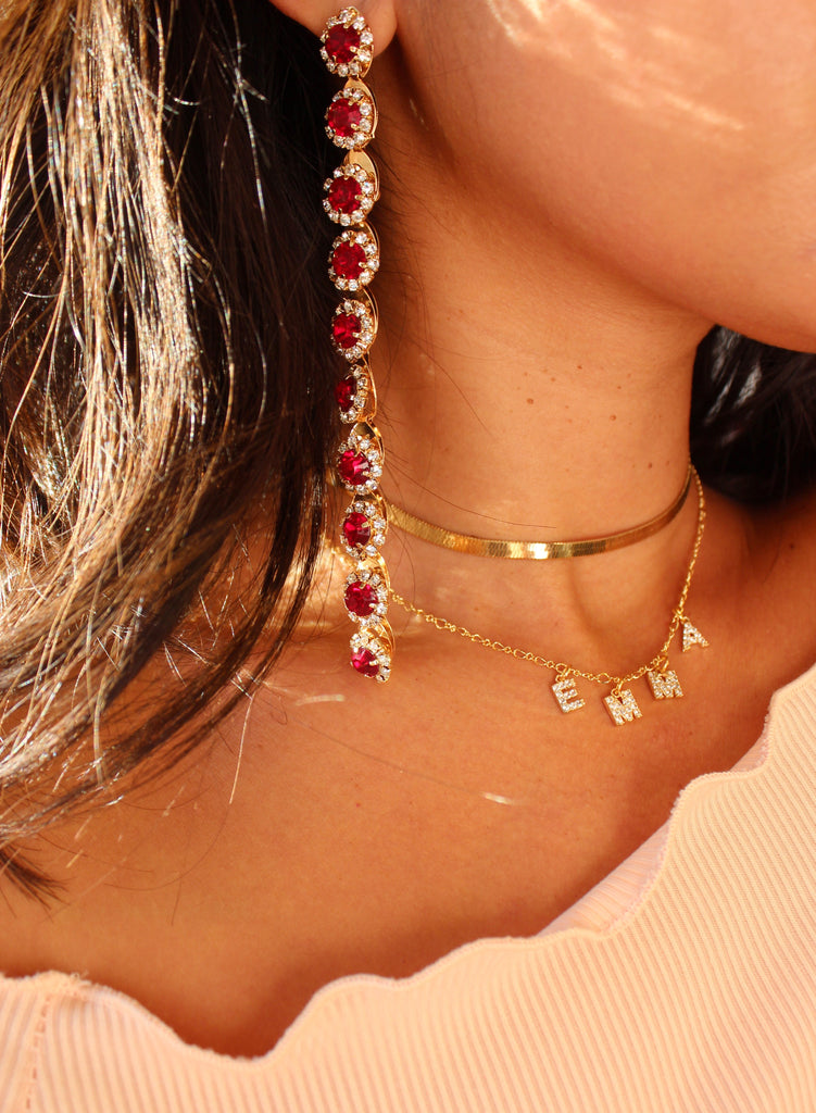 Cheers Drops Earrings in Red & Gold