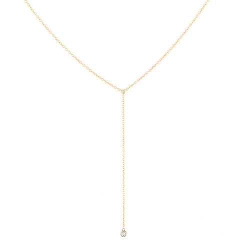 Dainty Diamond Lariat Necklace