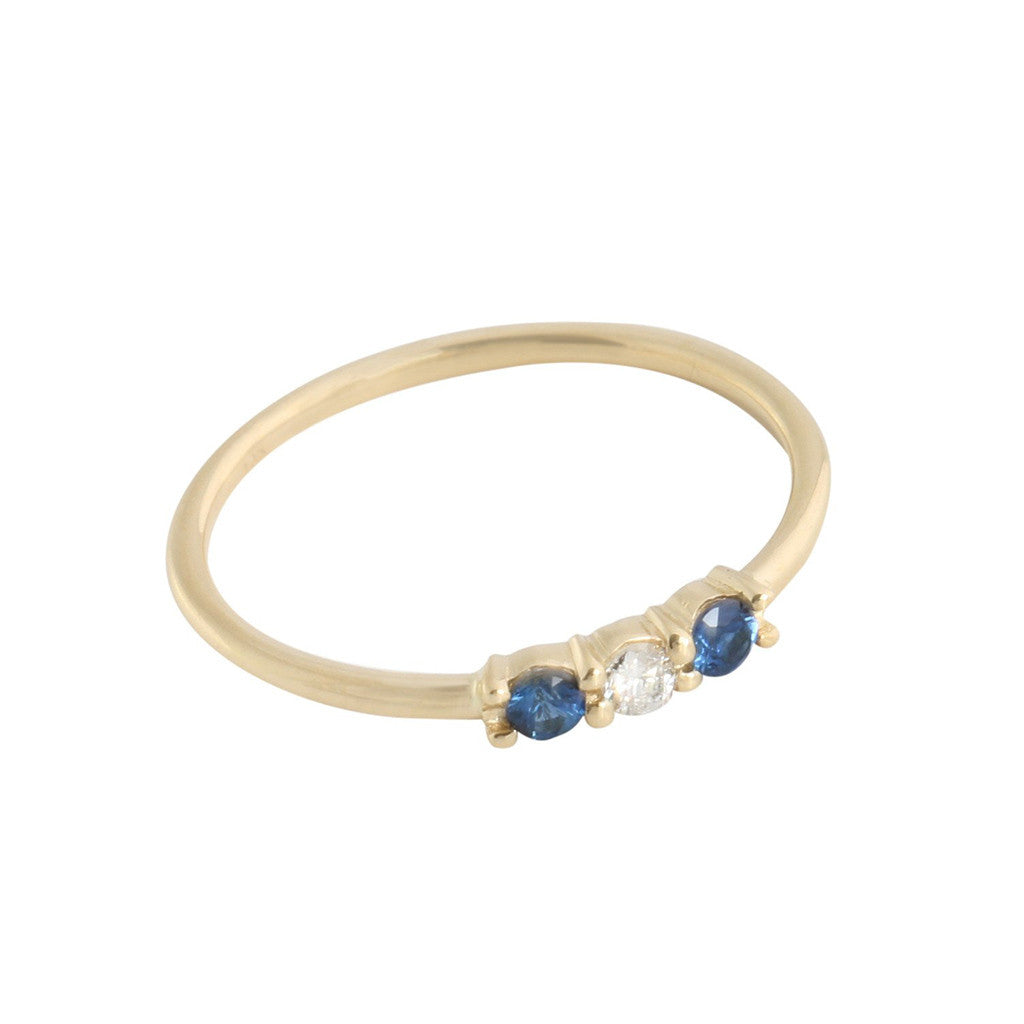 Sapphire + Diamond Three Stone Ring