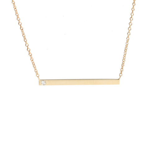 Gold Bar + Diamond Necklace