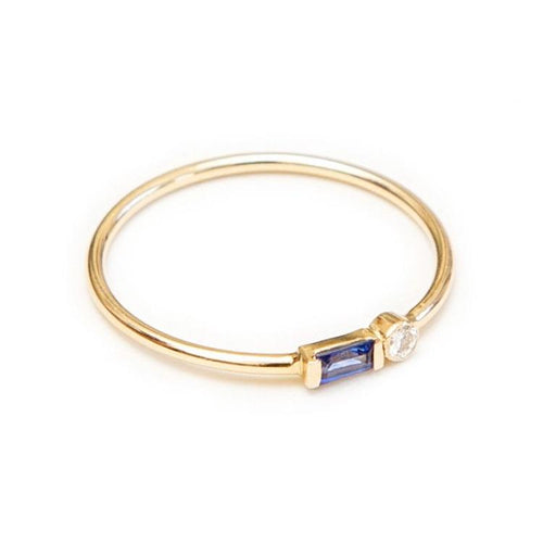 Sapphire + Diamond Two Stone Stacker
