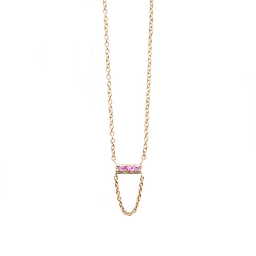 Three Stone Pink Sapphire with Chain Drop necklace