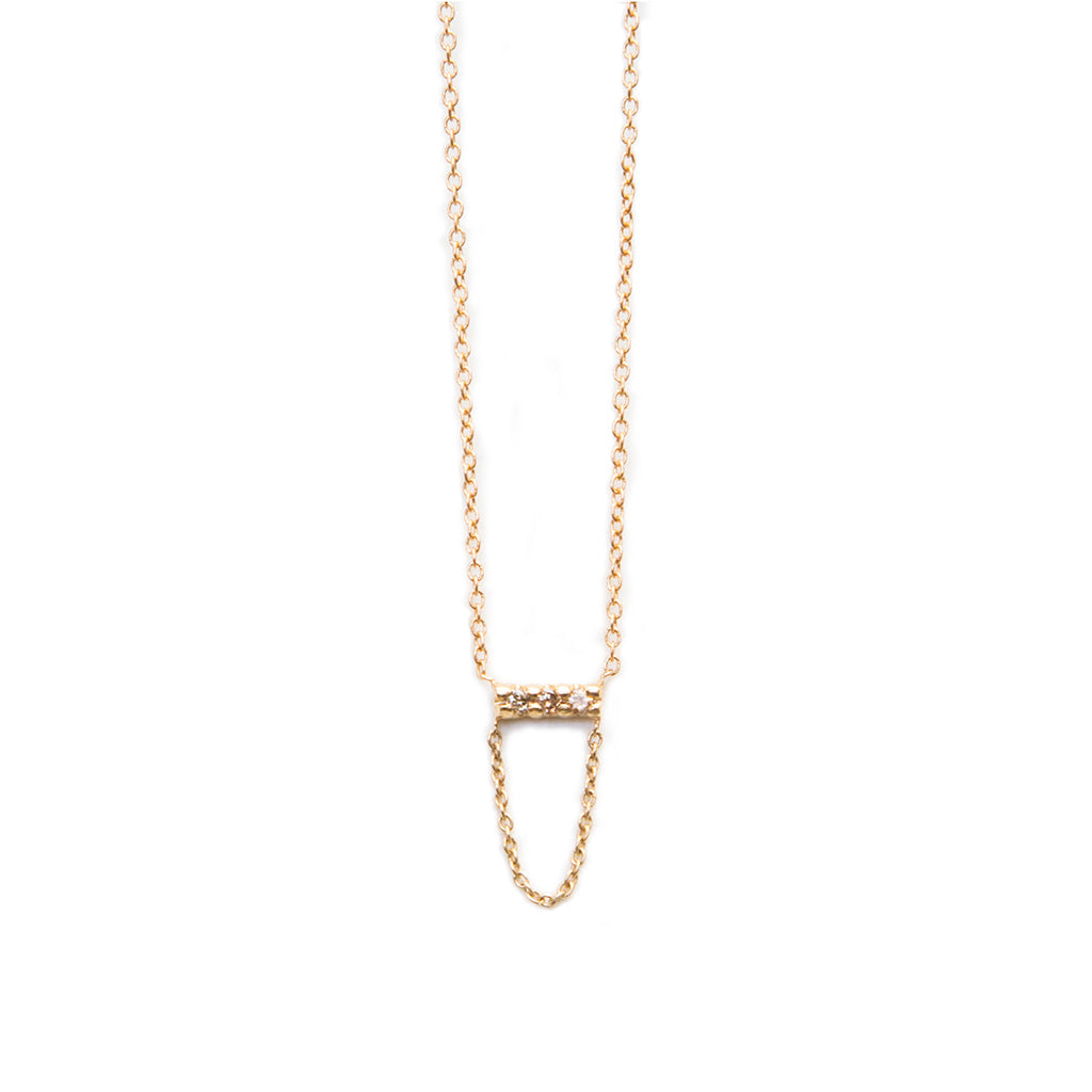 Three Stone Diamond with Chain Drop necklace