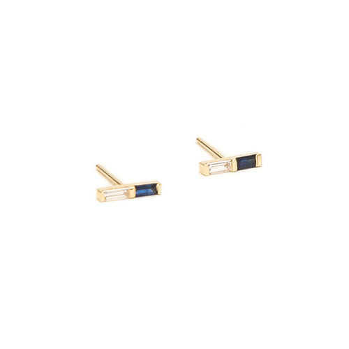 Blue Sapphire and Diamond Double Baguette Studs