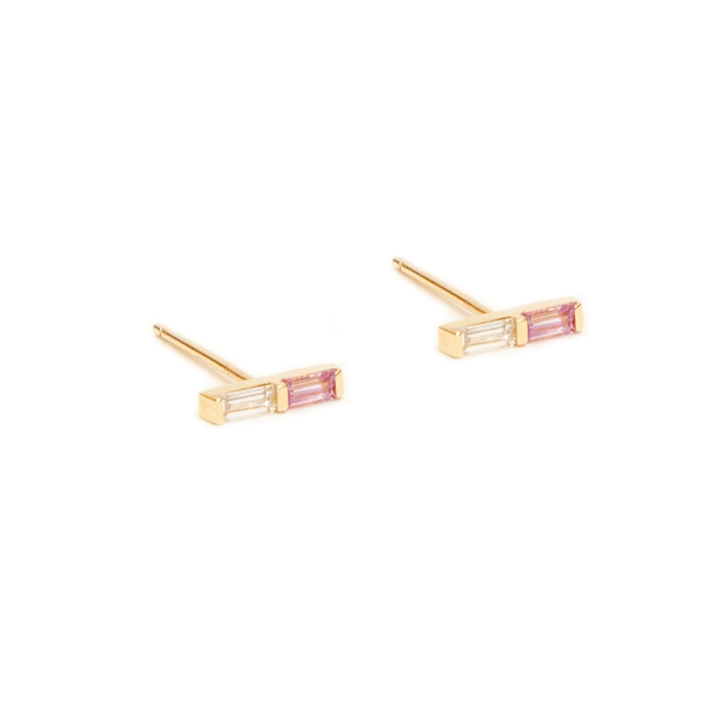 Pink Sapphire and Diamond Double Baguette Studs