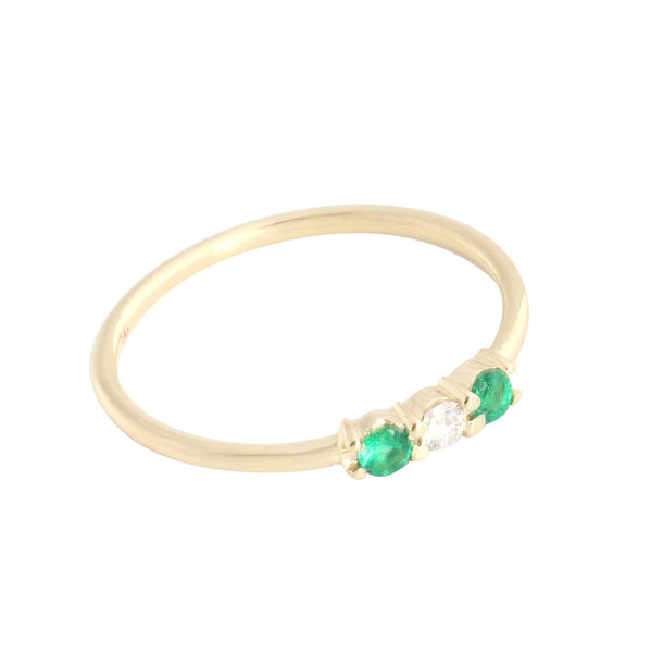 Emerald + Diamond Three Stone Ring