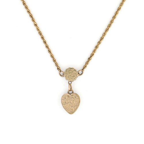 Victorian Gold Heart Necklace