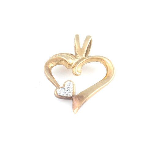 Gold Heart Diamond Pendant