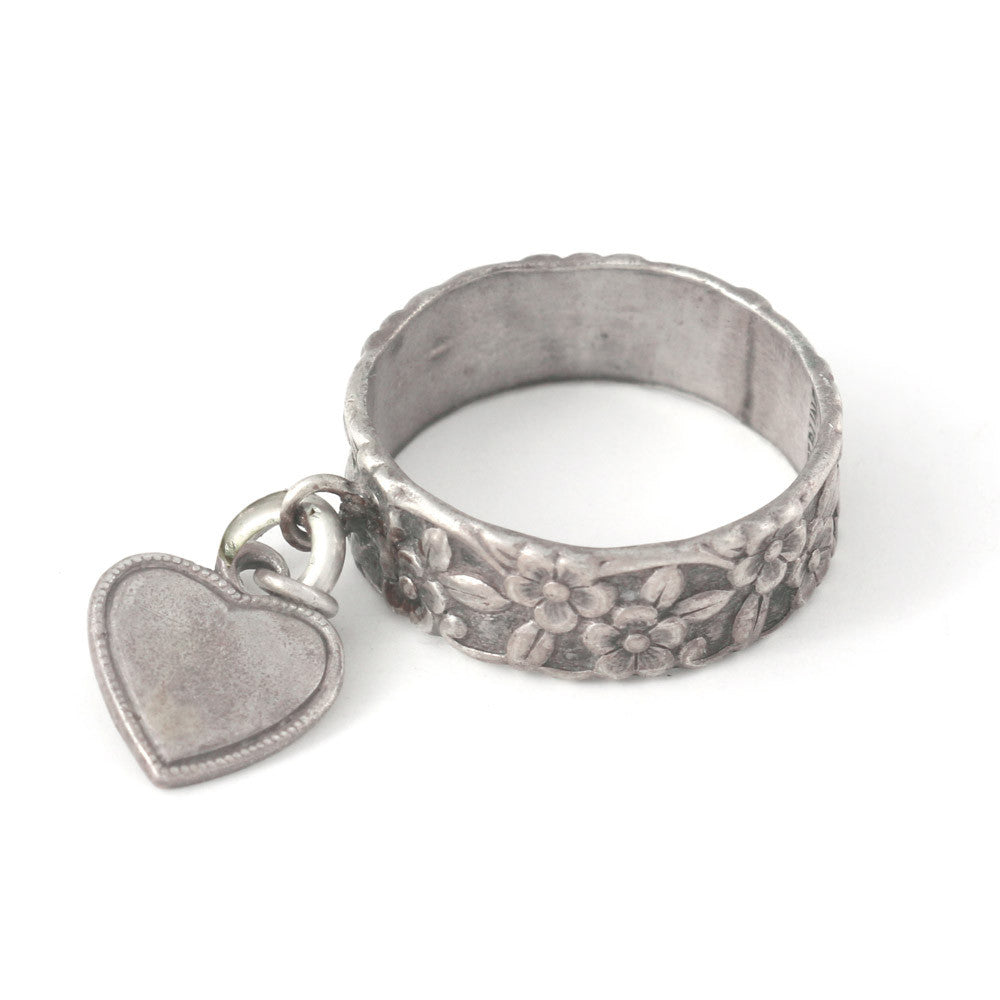 Silver Ring with Heart Charm