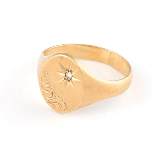 Gold Signet Ring with Diamond