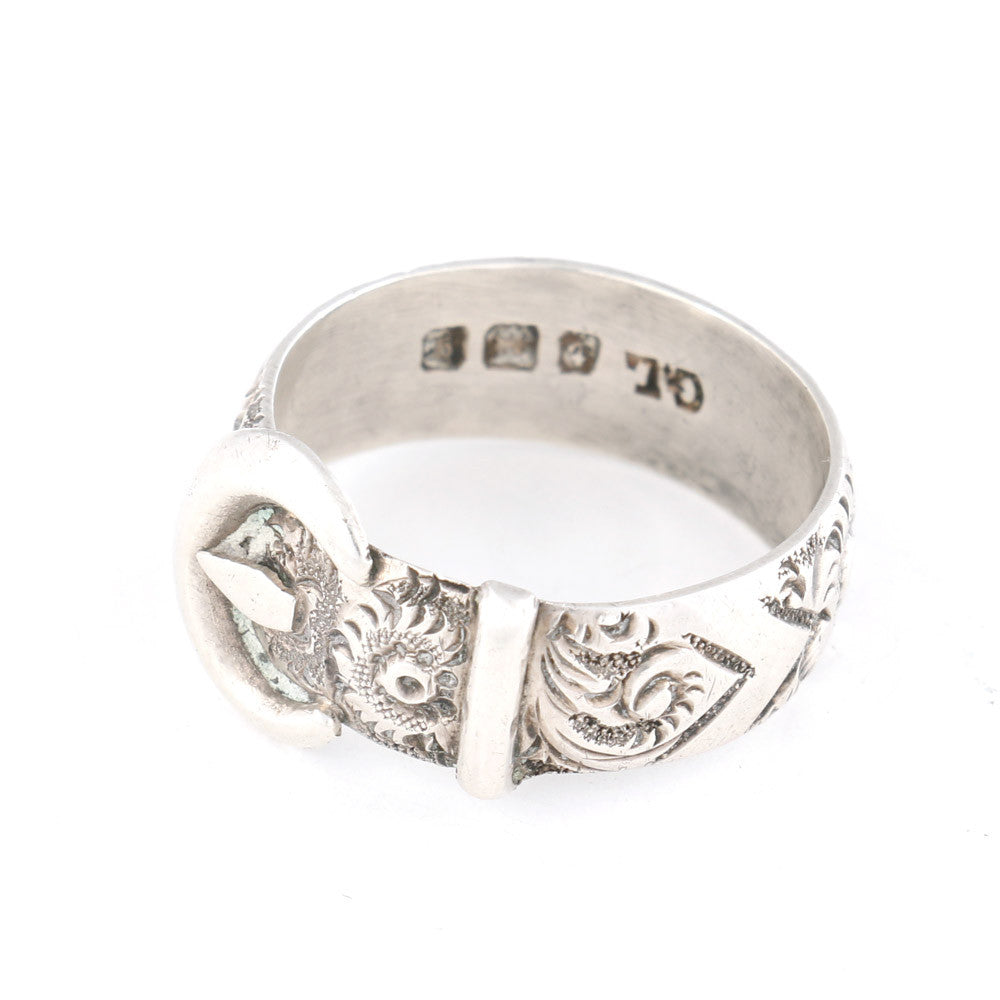 Silver Buckle Engraved Ring