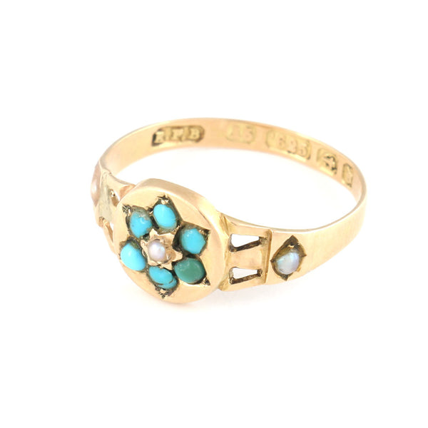 Gold Ring with Turquoise and Pearl