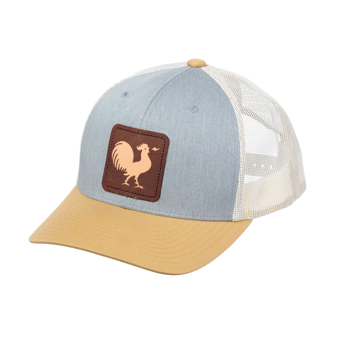Crowing Rooster Leather Patch Cap