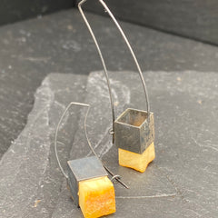 Recycled Amber sterling silver handmade earrings at Twelve Silver Trees jewellery