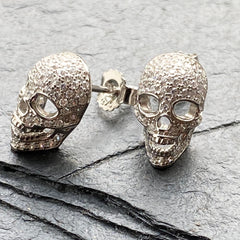 Sterling silver micro pave skull earrings at a Twelve Silver Trees jewellery
